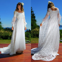 Bohemian Wedding Dress Empire Waist 70's Wedding Dress Tulle Skirt Accordion Pleat Dress White Lace Renaissance Dress Victorian Wedding