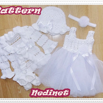 Crochet PATTERN, crochet tulle dress set crochet pattern, baby dress pattern, 0-12 months set PATTERN