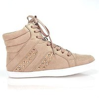 Carmia TAUPE BEIGE Metal Studded High Top Sneaker Laced Up Women Soda Shoes