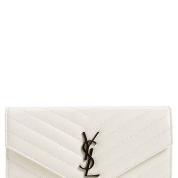 Women's Saint Laurent 'Monogramme' Quilted Leather Wallet on a Chain