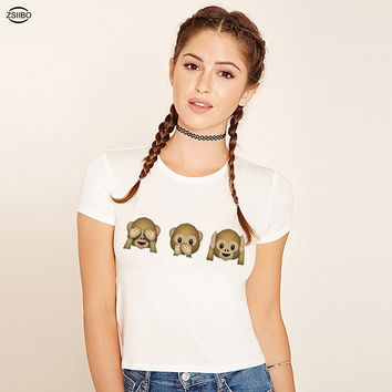 ZSIIBO New Emoji Monkey Print Crop Top O-Neck Women Short Sleeved T Shirt Cute Cropped Tops Femme Tee KaTx32