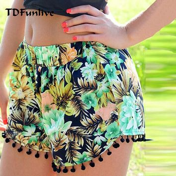 TDFunlive Briefs Floral Pom Pom Ball Shorts Women Beach Tassel National Wind Print Loose Women's Short Feminino Plus Size XL