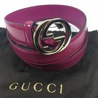 NWT Auth Gucci Pink Patent Leather Belt With Interlocking GG Buckle 80/32