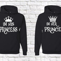 His Princess , Her Prince Unisex Matching Couples Hoodies