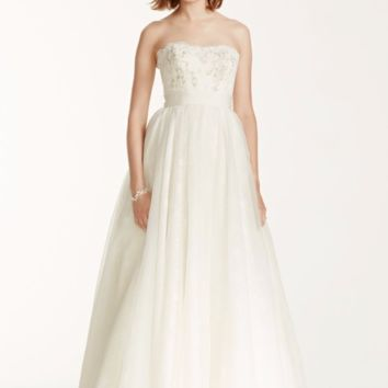 Melissa Sweet Wedding Dress with Floral Appliques - Davids Bridal