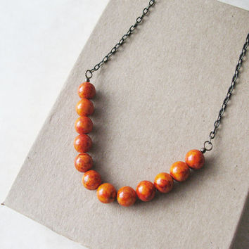 Fire Orange Stone Beaded Necklace - Gift For Women