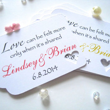 Personalized wedding favor tags, gift tags, die cut favor tags, party favor tags