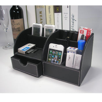Unique Home Office Computer Desk Supplies Pen Pencil Holder Leather Organizer Caddy