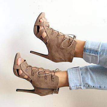 Side Zipper Lace UP Stiletto High Heel Ankle Boot Brown Sandals