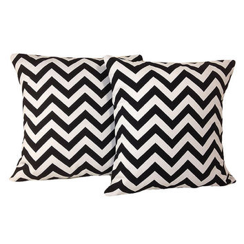 "Black Chevron Pillow Covers, set of two 18"" x 18"""
