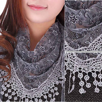 2016 New Arrival scarf women Lace Sheer Floral Print silk scarf Hollow tassel triangle pendant scarves shawls & Wrap