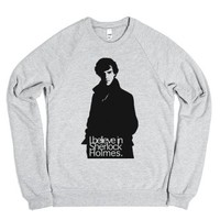 I believe in Sherlock-Unisex Heather Grey Sweatshirt