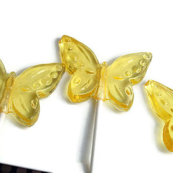 Yellow Butterfly Lollipops - Hard Candy Wedding Favors  - 4 Lollipop Pack -  Cake Decorations, Yellow Wedding Favors, Party Favors