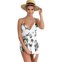 Floral Backless Beach Romper