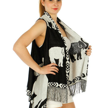 Elephant Print Long Tassel Vest in Black