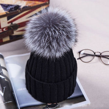 Women Lady Girl Warm Winter Thicken Cap Beanies Hats Wool Crochet Knitted Detachable Soft Fur Pom Beanie Ski Skull Baggy Hat