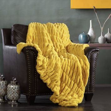 Chic Home Faux fur Throw Blanket Yellow