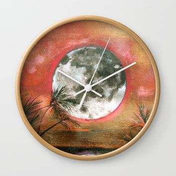 Tropical moon Wall Clock by Linda Luttinger