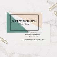 Green, White, and Peach Geometric Business Card
