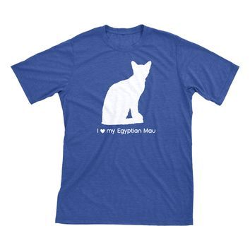 I Love My Egyptian Mau | Must Love Cats® White On Heathered Royal Blue Short Sleeve T-Shirt