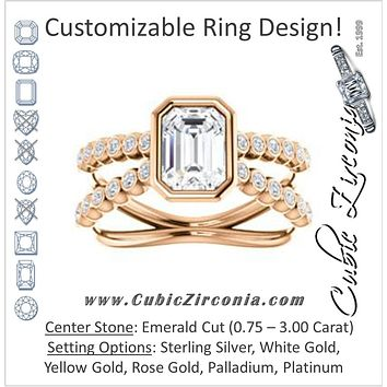 Cubic Zirconia Engagement Ring- The Lottie (Customizable Emerald Cut Design featuring Wide Beaded Split Band with Round Bezel-set Accents)