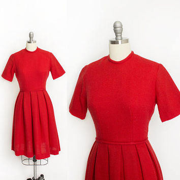 Vintage 1950s Dress - Res Wool Woven Full Skirt Shirt Sleeve Day Dress 50s - Extra Small XS