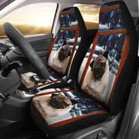 Pug Dog With Window Print Car Seat Covers- Free Shipping