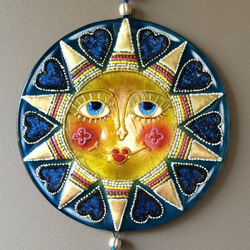 Handmade RADIANT SUN  glass fusing techniques gift lovers fathers mothers sister brothes hasband family friend amulet talisman