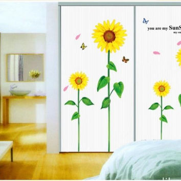 Four Sunflower Home Decor Removable Decals DIY Vinyl Wall Sticker SM6
