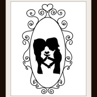 Wedding Couple Silhouette Framed Heart Cross Stitch Pattern | Los Angeles Needlework