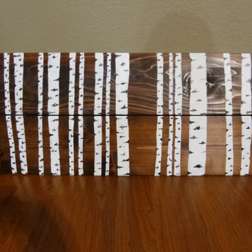 Handpainted Rustic Birch Tree Wood Sign