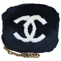 CHANEL Black Hand Muff With Strap Vintage MINT