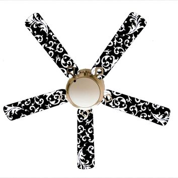 """Black and White Damask 52"""" Ceiling Fan with Lamp"""