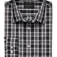 Banana Republic Mens Factory Tailored Fit Non Iron Black Plaid Shirt