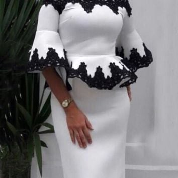 White-Black Floral Lace Off Shoulder Peplum Two Piece Elegant Cocktail Party Midi Dress