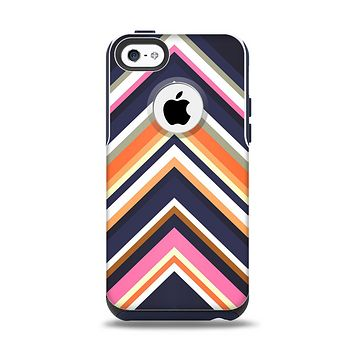 The Solid Pink & Blue Colored Chevron Pattern Apple iPhone 5c Otterbox Commuter Case Skin Set