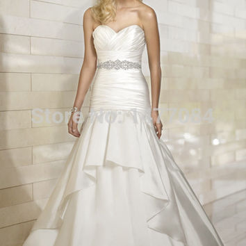 New Hot sell Sashes Sleeveless Floor-Length Silk Taffeta White/Ivory Wedding Dress 2015
