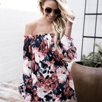 Print Sexy Strapless Long Sleeve One Piece Dress [13536886810]