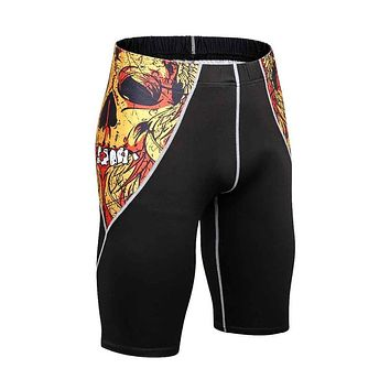 Mens MMA Compression Shorts Fashion 3D Teenager Fitness Shorts Bodybuilding Sportswear Short Bottoms Weight lifting Short pant