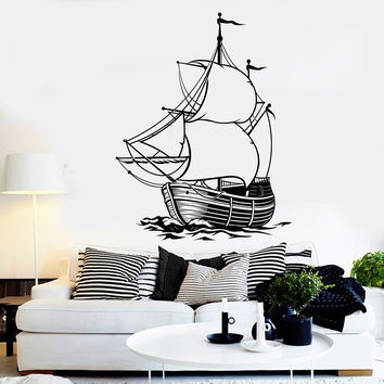 Vinyl Wall Decal Ship Sea Ocean Boat Sailor Sail Marine Style Stickers Unique Gift (1444ig)