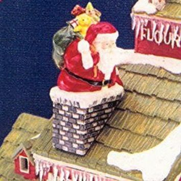 "Department 56 Snow Village ""Down the chimney he goes"" Santa 51586"
