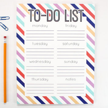 To Do List Notepad Large Note Pad Weekly Chore List Days of the Week To Do Chart Dorm Desk Accessories Graduation Gift Colorful Stripes