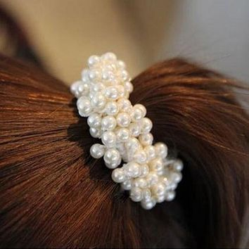 1 PC New Fashion Women Lady Pearls Beads Elastic Hair Rope Scrunchie Ponytail Holder Hair Band Accessories