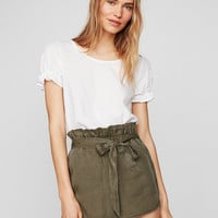 High Waisted Silky Soft Twill Tie Front Utility Shorts