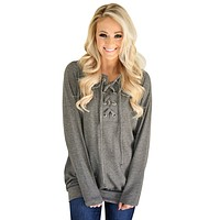 Chicloth Gray Women?¡¥s Lace up Sweatshirt Jumper