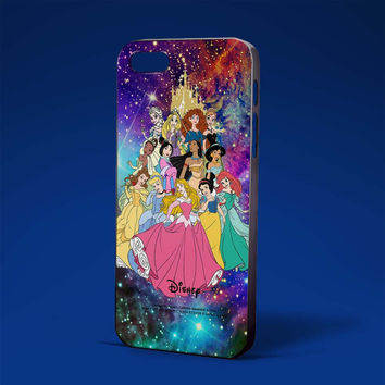 all disney princess in nebula galaxy  for iPhone 4/4s,iPhone 5/5s,5c,6 samsung galaxy S3,S4,S5, hard case