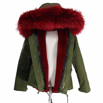 women's army green Large color raccoon fur hooded coat parkas outwear detachable lining winter jacket  #E183