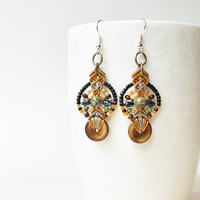 Tribal macrame earrings, bohemian earrings, earthy colors, beaded macrame jewelry, dangle earrings, unique, Picasso beads