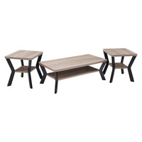 Driftwood & Black Laminate Coffee Table Set