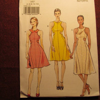 SALE Uncut Vogue Sewing Pattern, 8900! 4-6-8-10-12 Small/Medium/Women's/Misses/Cut in Armholes/Side Insets/Flared Dress/Sleeveless Dress/Col